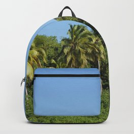 Exotic beach palm, trees and sky summer sun Backpack