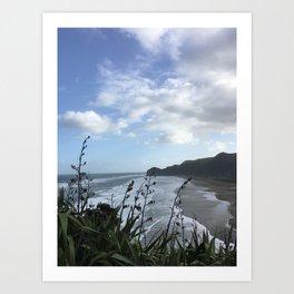 Lion Rock, Piha Beach, Auckland, New Zealand Art Print