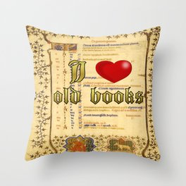 I love old books Throw Pillow