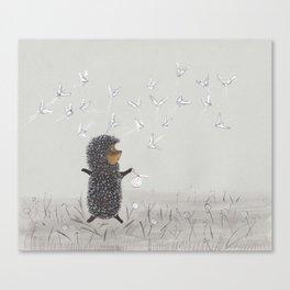 Hedgehog in the Fog fly like butterflies Canvas Print