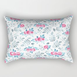 Romantic fuchsia blue gray watercolor hand painted roses Rectangular Pillow