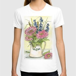 Pink Zinnias in Pitcher Watercolor T-shirt