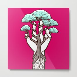 Tree growing within a hand – interlacing of nature and humanity Metal Print