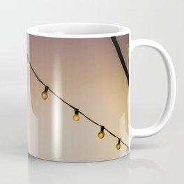 String Lights In Front of Palm Trees at Sunset in Palm Springs, California Coffee Mug
