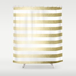 Simply Striped Gilded Palace Gold Shower Curtain