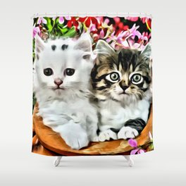 TWO CUDDLY KITTENS Shower Curtain