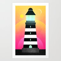 lighthouse Art Prints featuring Lighthouse by Elisabeth Fredriksson