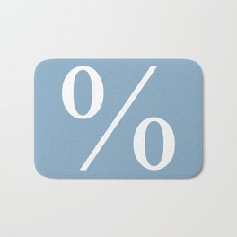 percent sign on placid blue color background Bath Mat
