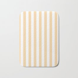 Narrow Vertical Stripes - White and Sunset Orange Bath Mat