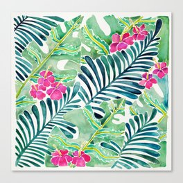 Lush Tropical Fronds & Hibiscus Canvas Print