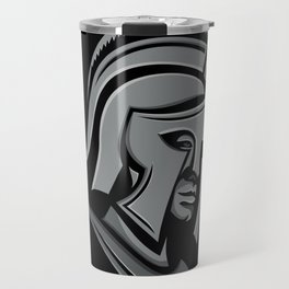 Spartan Warrior Head Metallic Icon Travel Mug
