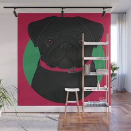 Icons of the Dog Park: Black Pug Design in Bold Colors for Pet Lovers Wall Mural