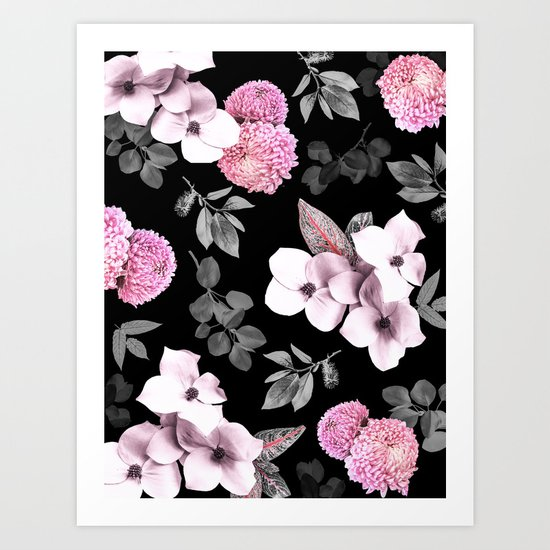 Night bloom - pink blush Art Print