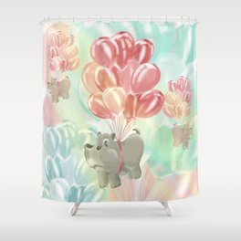 Flying hippos Shower Curtain