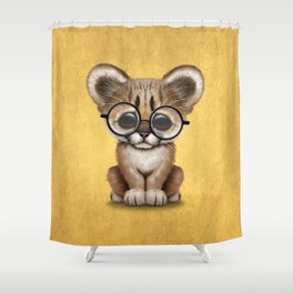Cute Cougar Cub Wearing Reading Glasses on Yellow Shower Curtain