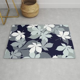 Contemporary Leaves Pattern In Chic Black, White, & Gray Rug