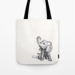tiny elephant sitting in the corner Tote Bag