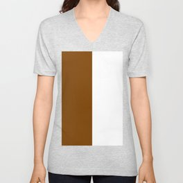 White and Chocolate Brown Vertical Halves Unisex V-Neck