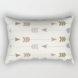 Tribal Arrows Pattern - Cream, Brown and Grey Rectangular Pillow