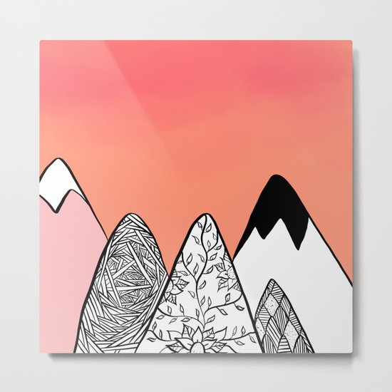 Modern abstract pink coral watercolor sky black white geometric floral mountains illustration Metal Print