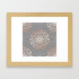 Rose Gold Gray Floral Mandala Framed Art Print