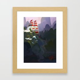 City by the river Framed Art Print
