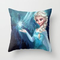 frozen elsa Throw Pillows featuring Elsa Frozen by This Is Niniel Illustrator