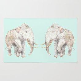 Woolly Mammoth Watercolor Mastodon Painting Rug