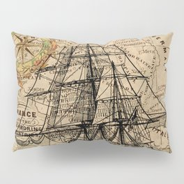 VINTAGE EUROPEAN MAP & SHIP Pillow Sham