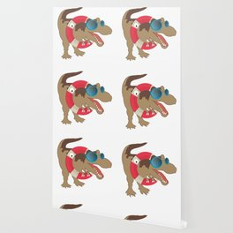 Funny Pool Party T-Rex Dinosaur Dino Jurassic Design Wallpaper