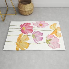 colorful cosmos flower Rug