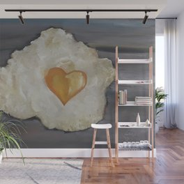 Heart-Shaped Fried Egg, oil painting by Luna Smith, valentine's day, romantic breakfast Wall Mural