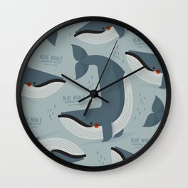 Blue Whale, Antartica Wildlife Wall Clock