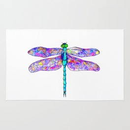 Neon colors rainbow dragonfly Rug