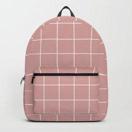 Grid Pattern Rose Blush Pink White D9A6A1 Stripe Line Minimal Stripes Lines Spring Summer Backpack