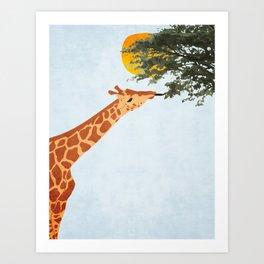 Giraffe bythe tree. Art Print