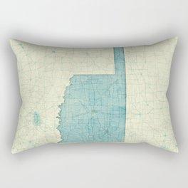 Oklahoma State Map Blue Vintage Rectangular Pillow