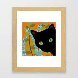 Black Kitty Cat In The Garden Framed Art Print
