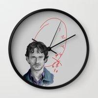 will graham Wall Clocks featuring Hannibal - Will Graham by firatbilal