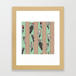 Woodpeckers Pecking Framed Art Print