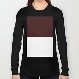 White and Dark Sienna Brown Horizontal Halves Long Sleeve T-shirt
