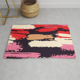 Abstract Brushstrokes in Pink and Red Rug