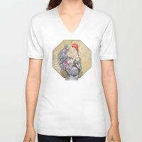 manga V-neck T-shirts featuring Manga 3 by Hector Gomez