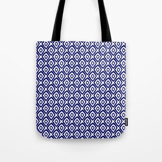 Ikat blue indigo painting modern abstract pattern print ink splash painterly brushstrokes classic  Tote Bag