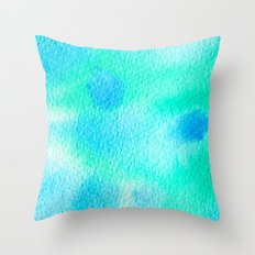 Beautiful Blue Turquoise Watercolor Throw Pillow