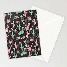 Cactus florals dark charcoal colorful trendy desert southwest house plants cacti succulents pattern Stationery Cards