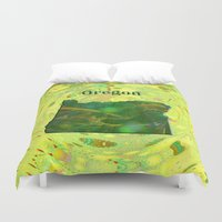oregon Duvet Covers featuring Oregon Map by Roger Wedegis