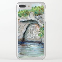 Maori carving on the lack Taupo, New Zealand Clear iPhone Case