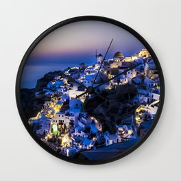 Santorini Island NightView Greece Wall Clock