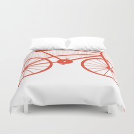 Red Bike by Friztin Duvet Cover